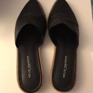 Kelsi Dagger brand new black leather mules size 9